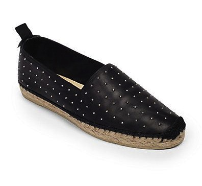 Saint-Laurent-Studded Leather Espadrille Flats
