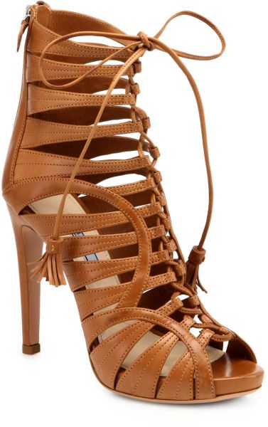 Prada Strappy Leather Lace-Up Ankle Boots