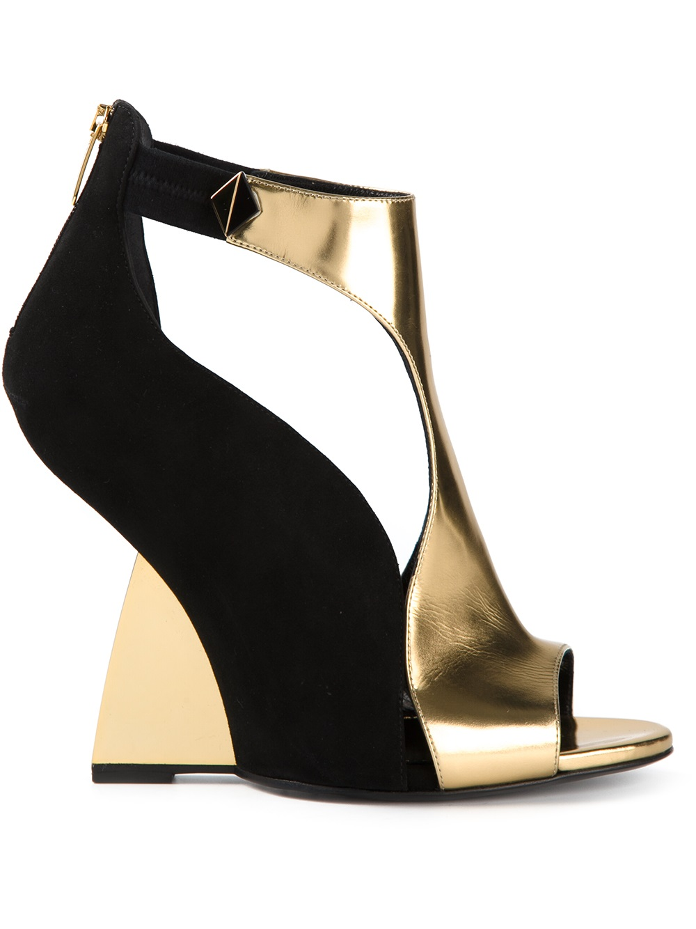 black-gold-SERGIO-rOSSI-structured -andals
