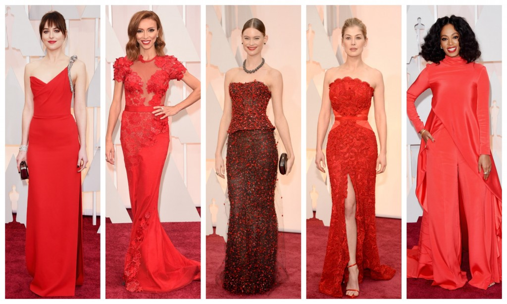 red on the red carpet oscars 2015