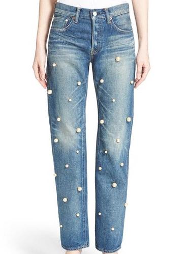 Tu es mon TRÉSOR Faux Pearl Embellished Jeans